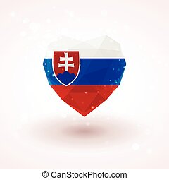Slovak flag in shape diamond glass heart. Triangulation style