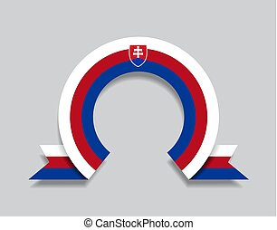Slovak flag rounded ribbon abstract background. Vector illustration.