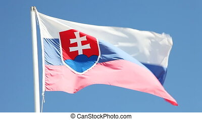 Slovak flag - Flag of Slovak Republic flowing in the wind...