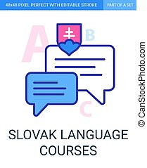slovak language courses thin pixel perfect icon with editable stroke and optimized for usage in 48 at 48 pixels size