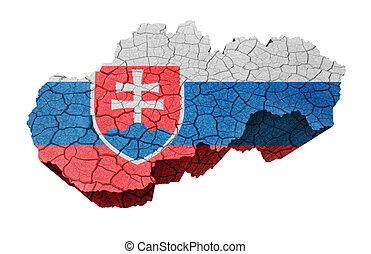 Map of Slovakia on cracked texture isolated on white