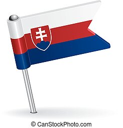Slovak pin icon flag. Vector illustration
