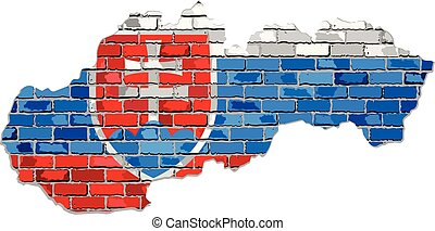 Slovak Republic map on a brick wall - Illustration, Grunge map and flag of Slovakia on a brick wall, Slovakia map with flag inside