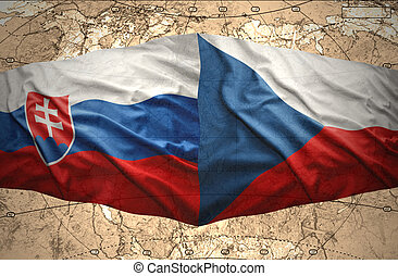 Slovakia and Czech Republic - Waving Slovak and Czech flags...