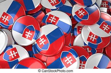 Slovakia Badges Background - Pile of Slovakian Flag Buttons.