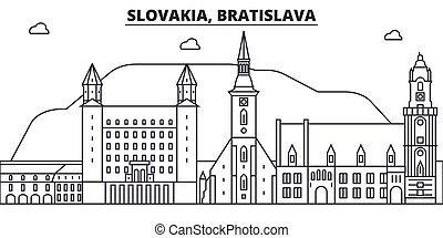 Slovakia, Bratislava architecture line skyline illustration. Linear vector cityscape with famous landmarks, city sights, design icons. Landscape wtih editable strokes