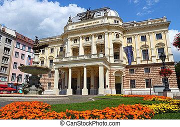 Bratislava, capital city of Slovakia. Neo-renaissance building of Slovak National Theater.