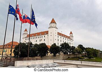 bratislava in the slovak republic to the european union. castle hill with castle