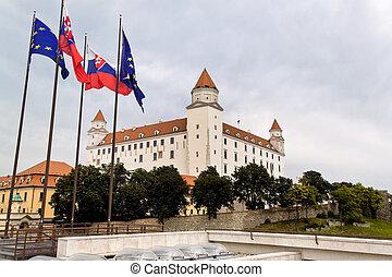 slovakia, bratislava: castle hill with castle