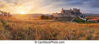 Slovakia Castle Beckov - sunset nature panorama