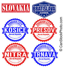 Slovakia cities stamps - Set of grunge rubber stamps with...