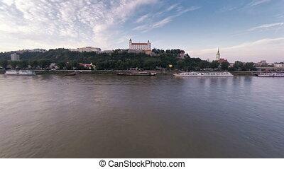 Slovakia city Bratislava castel and bridge over Danube...