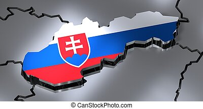 Slovakia - country borders and flag - 3D illustration