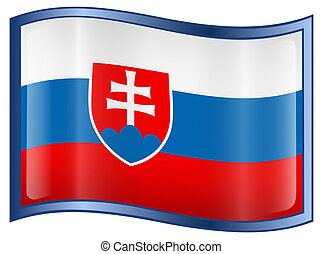 Slovakia Flag icon, isolated on white background.