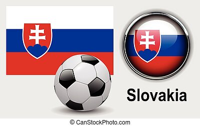 Slovakia flag icons with soccer ball, vector design.