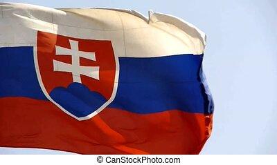 Slovakia flag is fluttering in wind
