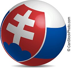 Slovakia flag on a 3d ball with shadow