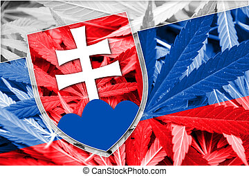 Slovakia Flag on cannabis background. Drug policy....