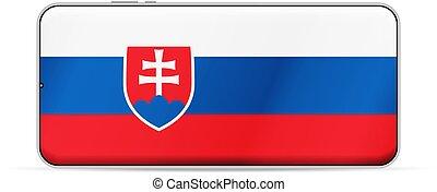 Slovakia flag on smartphone screen. Vector illustration.