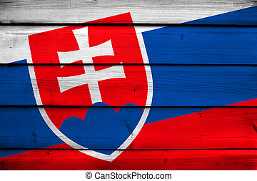 Slovakia Flag on wood background