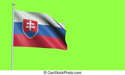 Slovakia Flag in 3D render with green screen background in Slow Motion