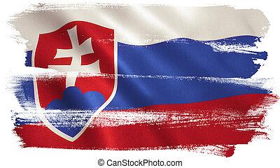Slovakia Flag - Slovakia flag background with fabric...