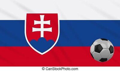Slovakia flag waving and football rotates, loop