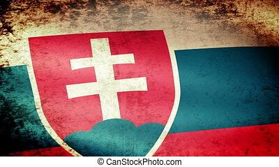 Slovakia Flag Waving, grunge look