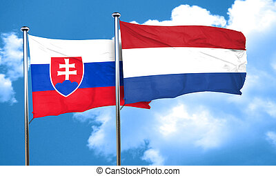 Slovakia flag with Netherlands flag, 3D rendering