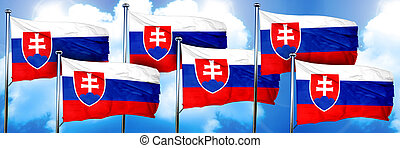 Slovakia flags, 3D rendering, on a cloud background
