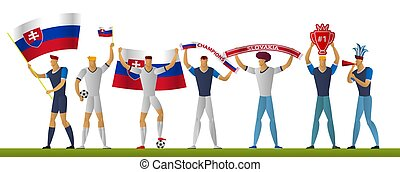 Slovakia football fans. Cheerful soccer supporters. sport player vector illustration.
