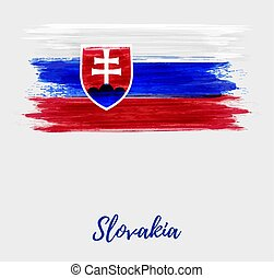 Slovakia grunge watercolor flag background.
