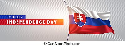 Slovakia happy independence day greeting card, banner vector illustration. Slovak national holiday 17th of July design element with 3D waving flag on flagpole