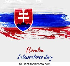 Slovakia Independence day grunge flag background