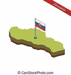 Slovakia Isometric map and flag. Vector Illustration.
