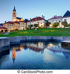Slovakia - Kremnica with reflection in fountain at night