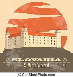 Slovakia landmarks. Retro styled