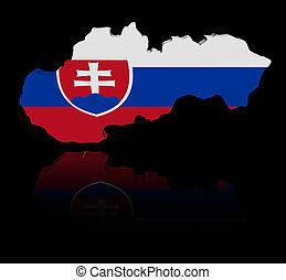 Slovakia map flag with reflection illustration
