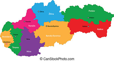 Slovakia map - Administrative division of the Slovak...