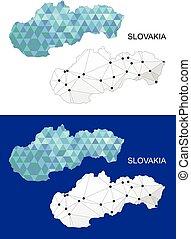 Slovakia map in geometric polygonal