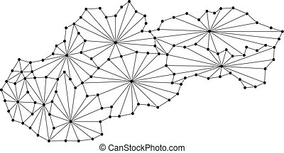 Slovakia map of polygonal mosaic lines network, rays and dots vector illustration.