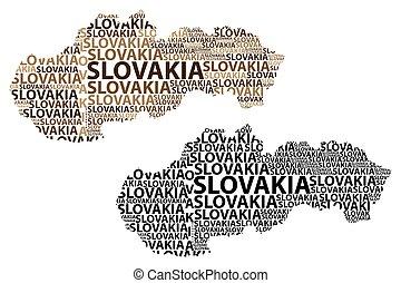 Slovakia map - Sketch Slovakia letter text map, Slovak...