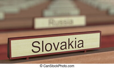 Slovakia name sign among different countries plaques at...