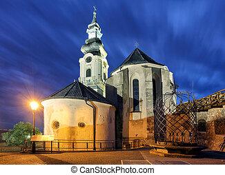 Slovakia, Nitra castle at night