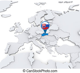 Slovakia on a map of Europe