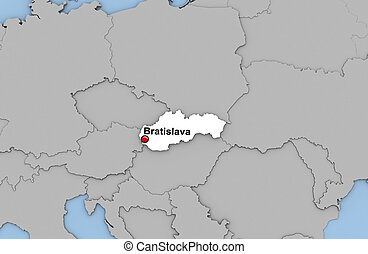 Slovakia - Abstract 3d render of map of Slovakia highlighted...