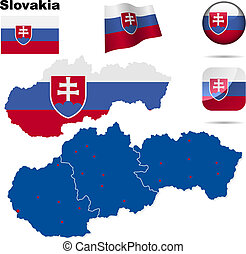 Slovakia vector set. Detailed country shape with region...