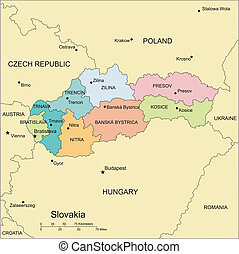Slovakia with Administrative Districts and Surrounding...