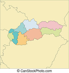 Slovakia with Administrative Districts and Surrounding Countries