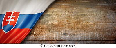 Slovakian flag on concrete wall banner